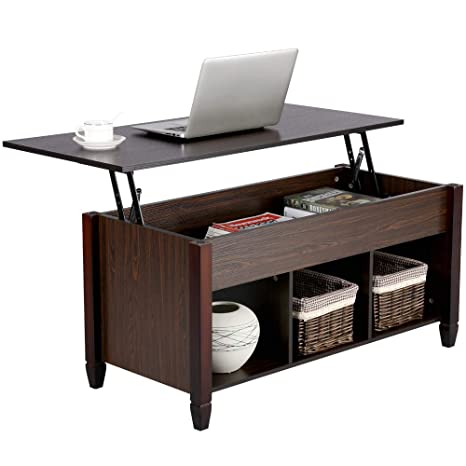 Yaheetech Lift Top Coffee Table with Hidden Storage Compartment & Shelf for  Home Living Room Furniture, 19.2-24.6in H