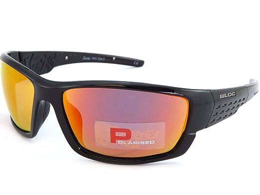 Bloc Delta Polarised Black Sunglasses Red Mirror Lens PR4