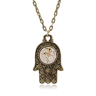 Steampunk Gear Pendant Gothic Owl Key 3D Necklace Men Women Necklace