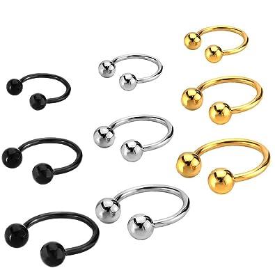 251d0ff5a Amazon.com: Joybeauti 6mm 10mm 14mm Unisex Stainless Steel Ball Horseshoe  Hoop Ear Cartilage Helix Septum Circular Barbells Earrings 16G Pack of 18  Pcs ( 3 ...
