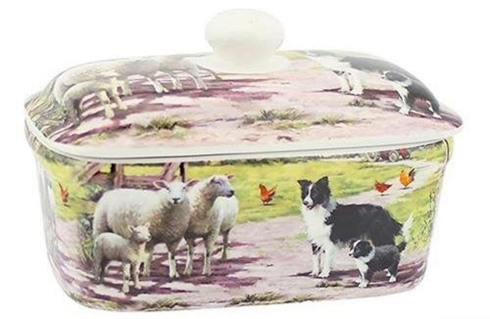 Collie and Sheep Design Fine China Butter Dish Leonardo