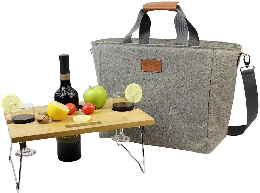 INNO STAGE 40L Large Insulated Cooler Tote, XL Portable Wine Carrier Bag Picnic Cooler Bag with Portable Bamboo Wine Snack Table with 2 Positions - Best
