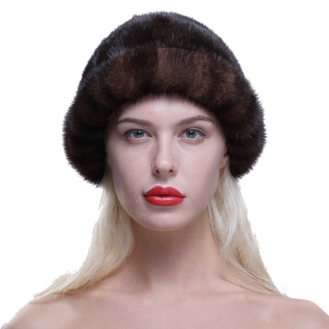 URSFUR Women's Genuine Mink Fur Roller Hat Cap with Mink Top Coffee by URSFUR