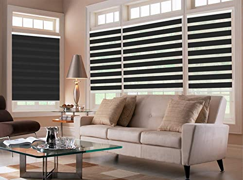 PASSENGER PIGEON Zebra Window Blinds, 72 W x 96 H Inches, Black, Premium Light Filtering Horizontal Day and Night Dual Layer Sheer Blinds, Cord Loop Window Shades for Bedroom, Doors
