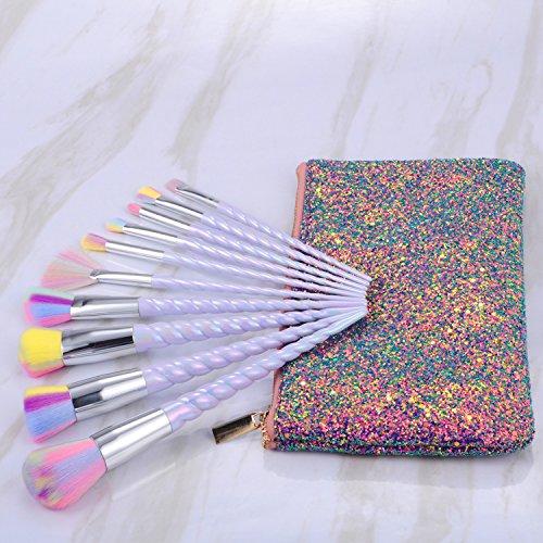Unicorn Makeup Brushes Set Make up Brushes Professional Foundation Powder Eyeshadow Blending Concealer Cosmetics Tools Brushes Kit with Case (10 Pcs)