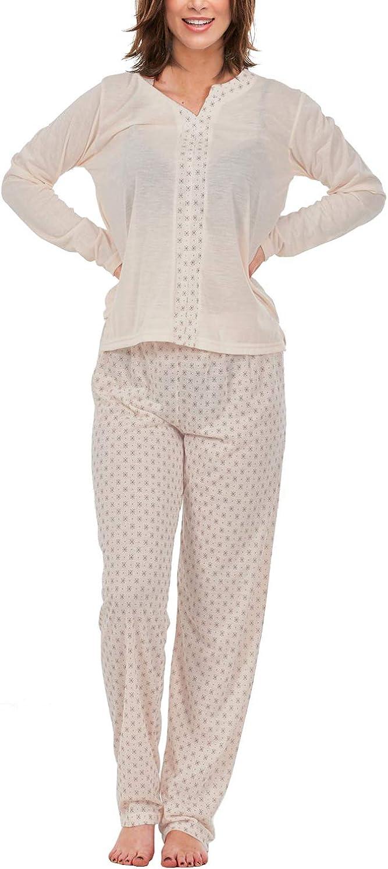 i-Smalls Mesdames Pyjama Ensemble col en V Imprim/é Floral /à Manches Longues en Coton Doux V/êtements de Nuit avec Lilas Masque
