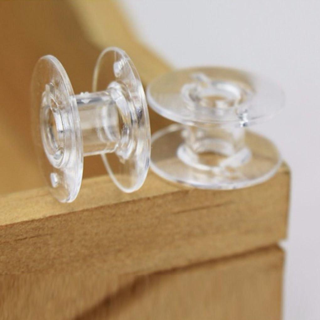 Pegcdu 25pcs de plástico Transparente para máquinas de Coser Hilo de la canilla Cadena vacía Carretes