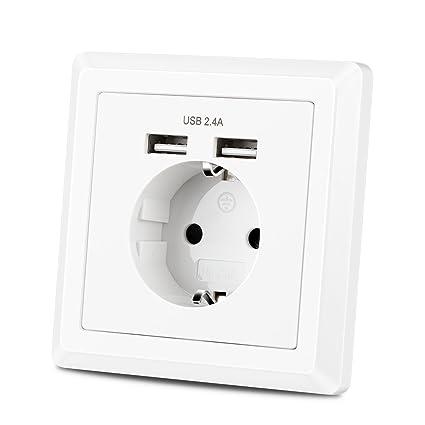 Toma Pared con 2 Puertos USB, Enchufe de Contacto de Protección, Cargador USB 2.4A para Dispositivos Móviles (Smartphone,Cámara,etc.)