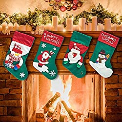 "Prextex Extra Large 17"" 3D Plush Christmas Stockings Felt Christmas Stocking"