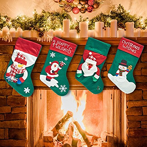 "Prextex Extra Large 17"" 3D Plush Christmas Stockings Felt Christmas Stocking"