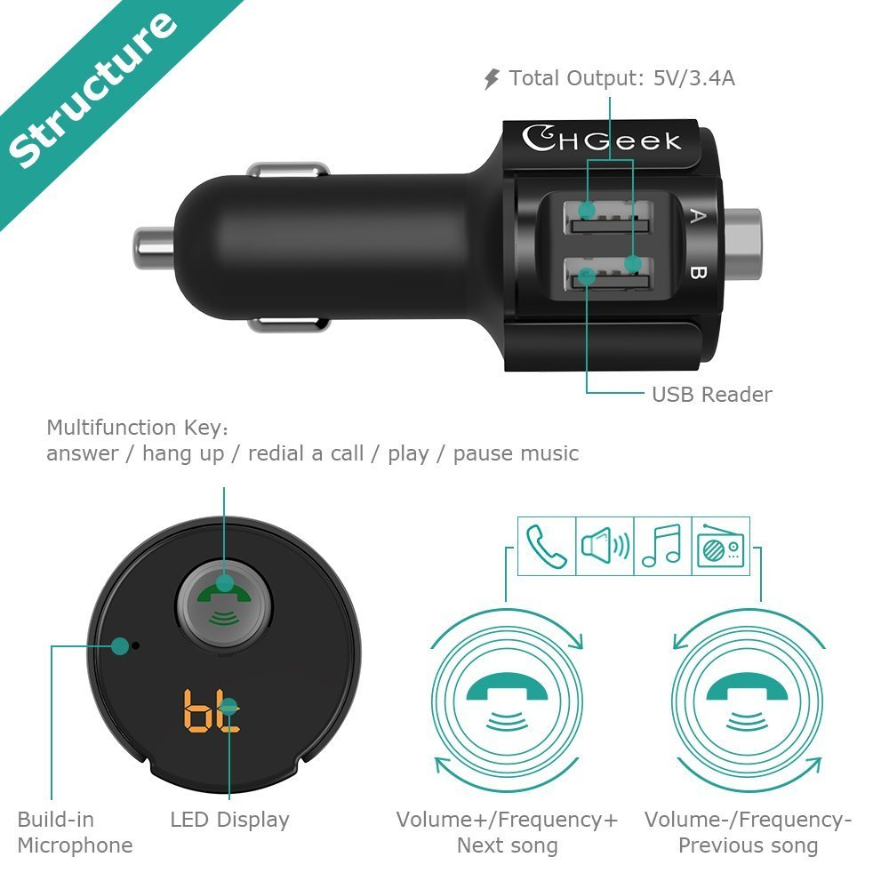 Bluetooth FM Transmitter, CHGeek Wireless In-Car Radio Adapter Hands-free Call Car Kit MP3 Player 3.4A Dual USB Car Charger with Display for iPhone X 8 7 iPad iPod Samsung Android Black by CHGeek (Image #7)