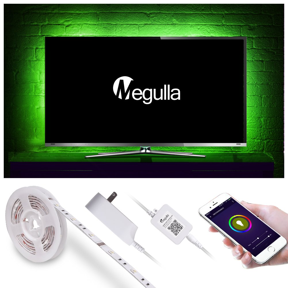 Megulla Tv Backlight Smart Wifi Rgbw Led Light Strips Ir Dimmer V1 With Timer And Ul Listed Power Adapter App Control By Phone
