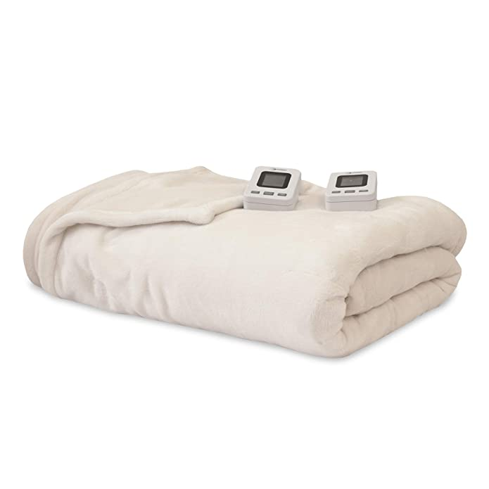 SensorPEDIC Electric Warming Blanket with SensorSafe & Two Digital Controllers - Queen Ivory