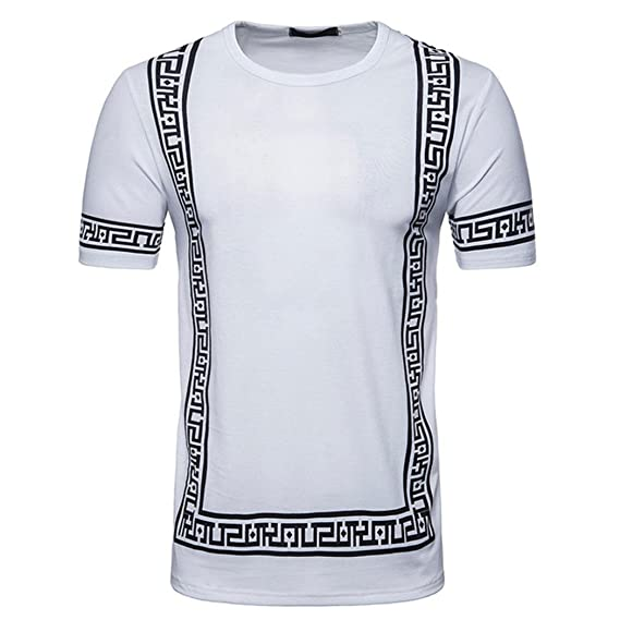 Resplend Camiseta de Manga Larga Estampada con Cuello Redondo y Manga Corta de O-Neck de Hombre: Amazon.es: Ropa y accesorios