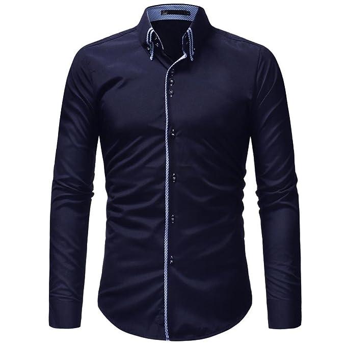 Hffan Herren-Hemd Schwarz Weiss Gelb Blau Slim-Fit Shirt Langarm-Hemd Für e75f3aff42