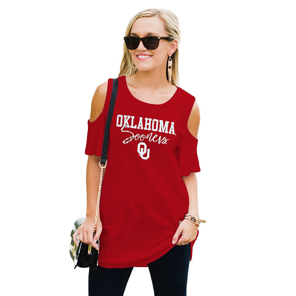 Gameday Couture Women's Cold Shoulder Top Ou Crimson L