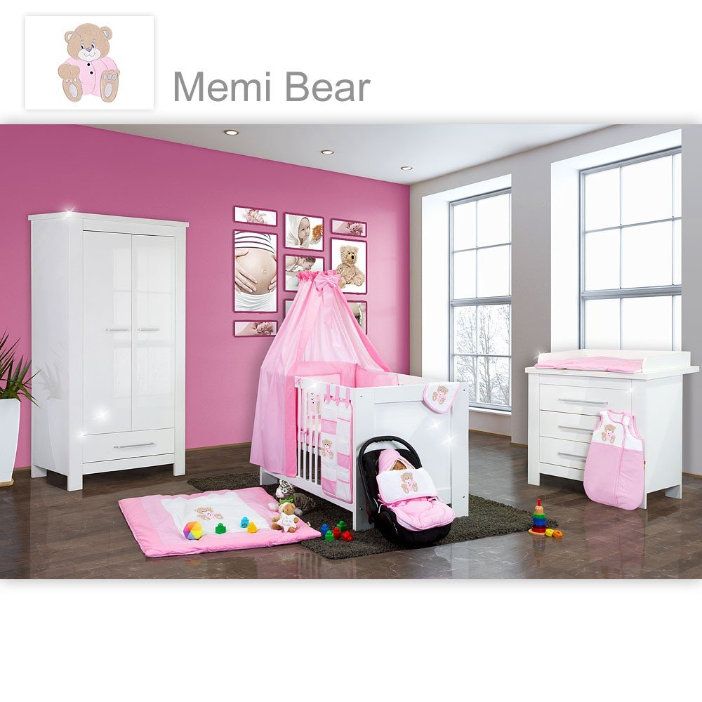 Babyzimmer Enni Hochglanz 19-tlg. mit 2 türigem Kl. + Textilien Memi Bear, Rosa