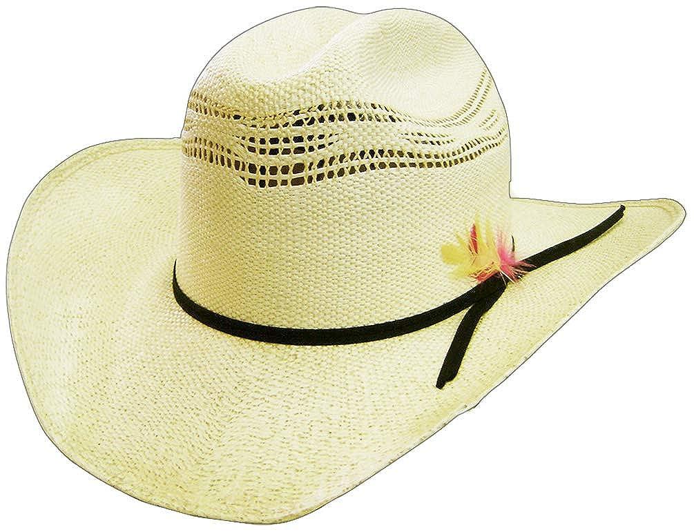 ea7f56f1e5f Modestone 6X Feather Bangora Straw Cowboy Hat   Off-White at Amazon Men s  Clothing store