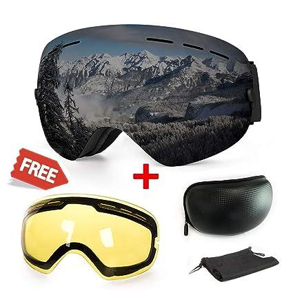 WLZP Gafas de esquí antiniebla con protección UV para Snowboard, esquí, Skating y Otros Deportes de Nieve, con Lentes esféricas Intercambiables ...
