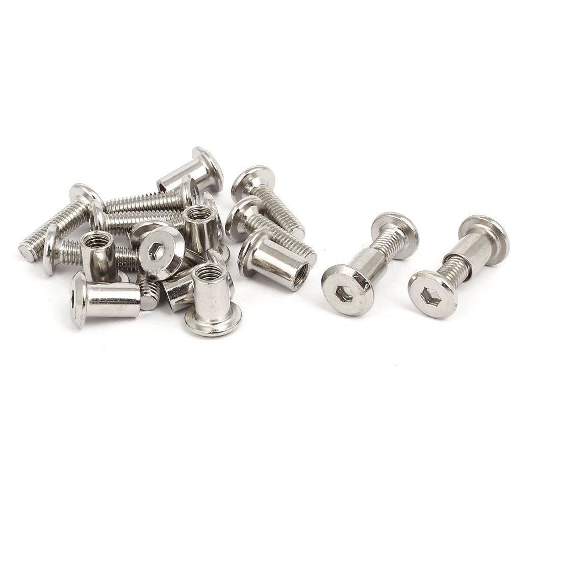 M6x50mm Male Thread Cupboard Cabinet Socket Hex Screw Post Silver Tone 10pcs