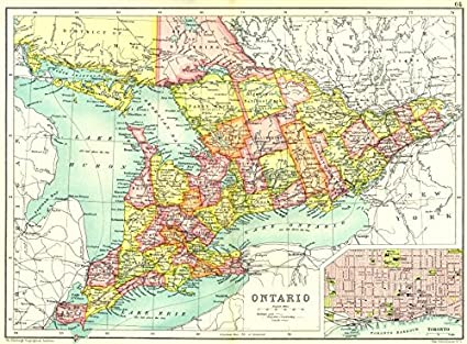 Map Of Canada Toronto Ontario.Ontario Showing Counties Inset Map Of Toronto Canada Cassells