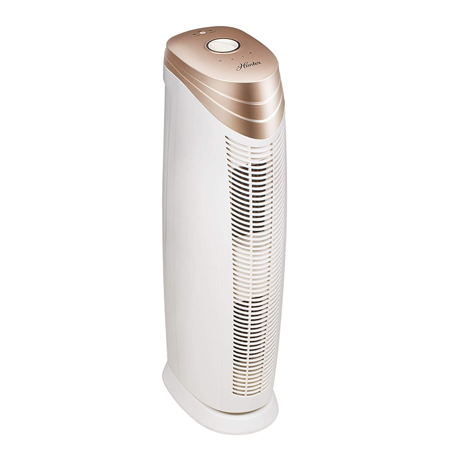 Odors Germs Dust Pollen Smoke for Allergies Hunter HT1701 Air Purifier with ViRo-Silver Pre-Filter and HEPA+ Filter 27-Inch Titanium//Black Air Cleaner for Large Rooms Mold Pets