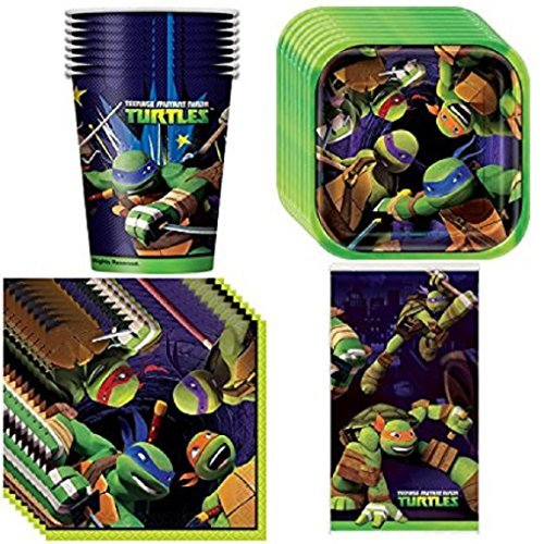 Red Balloon with Teenage Mutant Ninja Turtles Party Supplies Pack Including Plates, Cups, Napkins and Tablecover - 16 Guests (Ninja Plates Party Turtles)