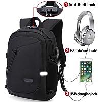 Mochila para portátil, mochila DOXUNGO antirrobo unisex con bloqueo Mochila portátil delgada con puerto de carga USB y puerto para audífonos para mujeres y hombres, para portátil y tableta Ipad de hasta 15.6 pulgadas (Versión mejorada - negro)