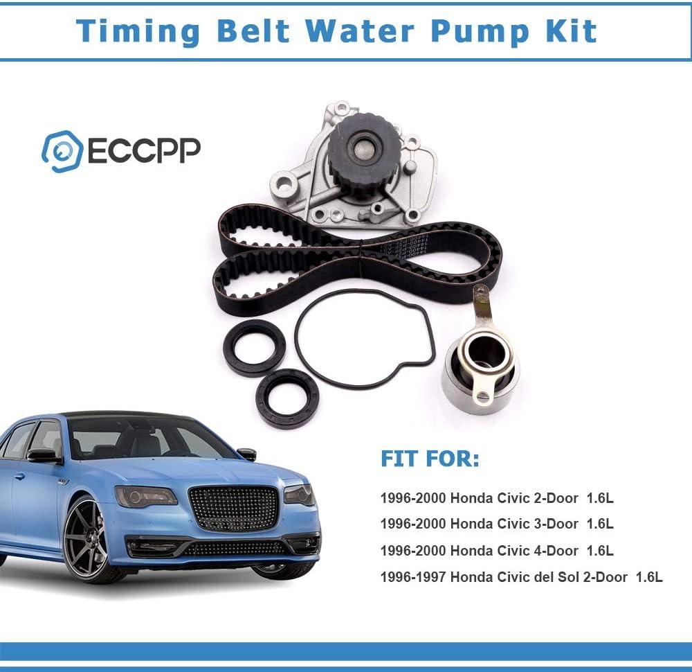 ECCPP/® Fits Honda Civic Del Sol SL 1.6L 1590CC L4 SOHC D16Y5 D16Y7 D16Y8 D16B5 Timing Belt Kit W// Water Pump TCKWP224 WP224K1B TB224LK2