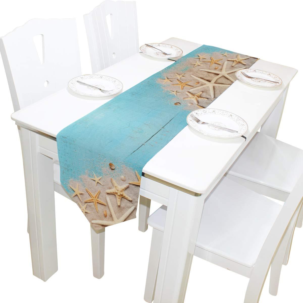 Amazon.com: WOOR Camino de mesa con estrella de mar náutica ...