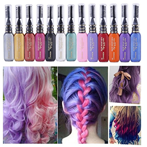 DZT1968 13 colors 15ml Women Professional Non-toxic Temporary Instant Hair Color natural plants Dye Highlights Streaks Touch (A)