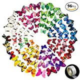 JUSLIN 96 Pcs 3D Butterfly Removable Mural Stickers Wall Stickers Decal for ...