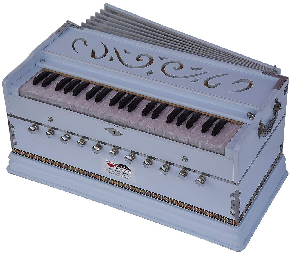 Harmonium White Pro Grade By Kaayna Musicals, 11 Stop- 6 Main & 5 Drone, 3½ Octaves, Coupler, Gig Bag, Bass/Male Reed Tuned- 440 Hz, Suitable for Peace, Yoga, Bhajan, Kirtan, Shruti, Mantra, etc by Kaayna Musicals (Image #4)