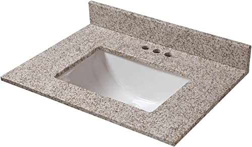 CAHABA CAVT0191 25 in x 22 in Golden Hill Granite Vanity Top with trough bowl and 4 in faucet spread