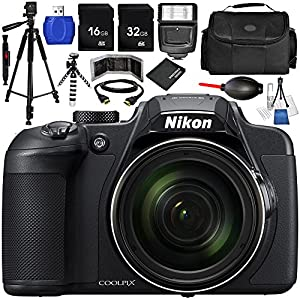 Compact Wi-Fi Capable Nikon COOLPIX B700 Digital Camera 14PC Accessory Bundle with 32GB SD Memory Card + 16GB SD Memory Card + Memory Card Reader + Memory Card Wallet + MORE