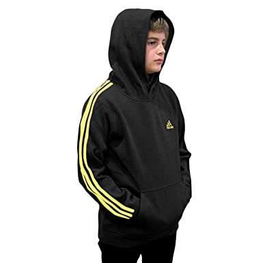 7cbc27729dad Adidas Big Boys Youth Striped Classic Active Pullover Fleece Hoodie Black    Bright Yellow Small (