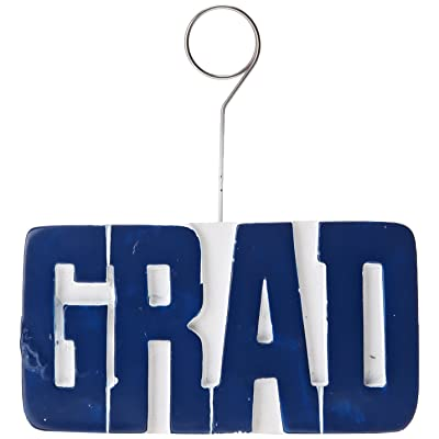 GRAD Photo/Balloon Holder (blue) Party Accessory (1 count): Childrens Party Decorations: Kitchen & Dining