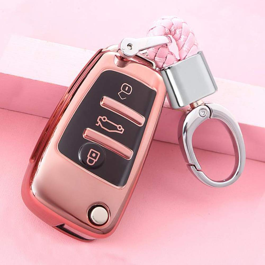 etc TurningMax Keyless Entry Remote Cases Key Fob Cover with Keychain Full Protection Soft TPU Holder Shell for 3 Button Lip Key Cpmpatible with Audi A3 A4 A6 A6L A8 TT Q7 S6 Blue