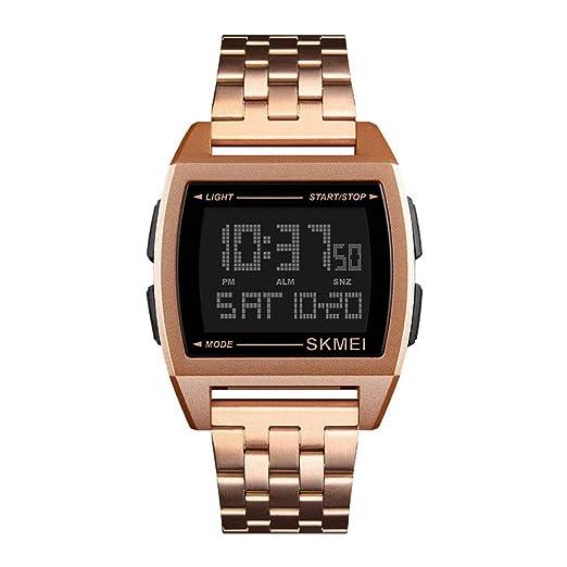 Relojes Pulsera Multifunción Outdoor Esfera Metálica Rectangular Digitale Relojes Hombre Correa de Acero Inoxidable Negocios Deportivo, Oro Rosa: Amazon.es: ...