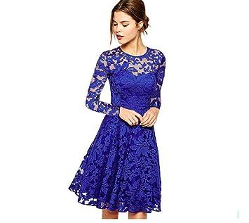 Vestido De Mujer Casual Formal Vestir Fiesta Azul Elegante Cordón Decoración Paseo Regalo De Cumpleaños Banquete