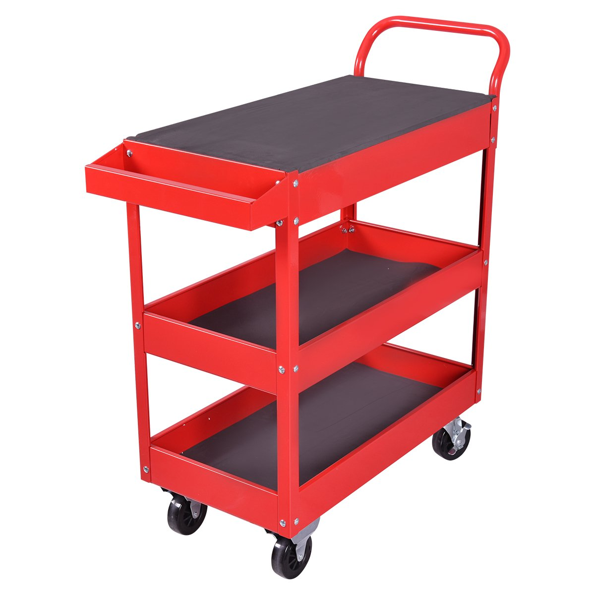 Goplus Tool Cart Rolling 36-Inch Steel Tool Chest Box Wheels Trays w/ Locking Drawer, Red by Goplus (Image #4)