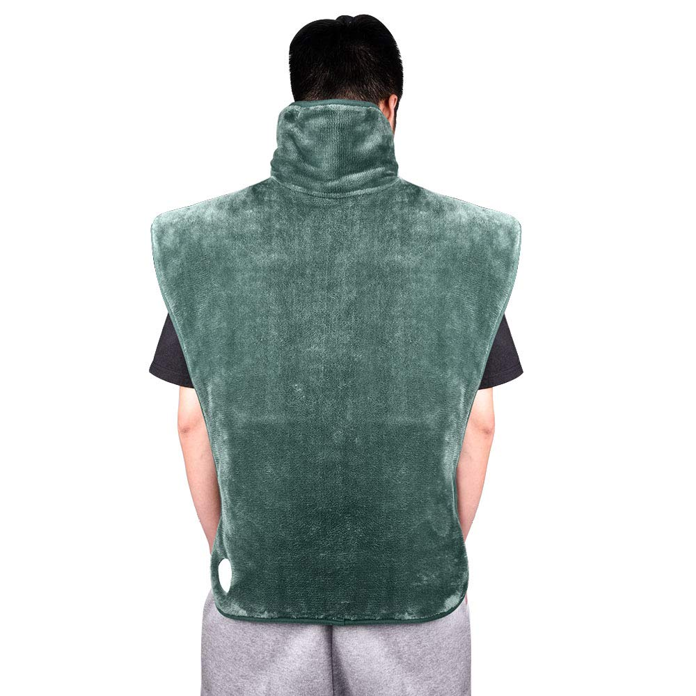 Heating Wrap for Shoulder and Back Heating Pad for Back Pain and Stress Relief 6 Heating Level 3 Hours Auto Shut Off 24 * 35inch Green by HailiCare