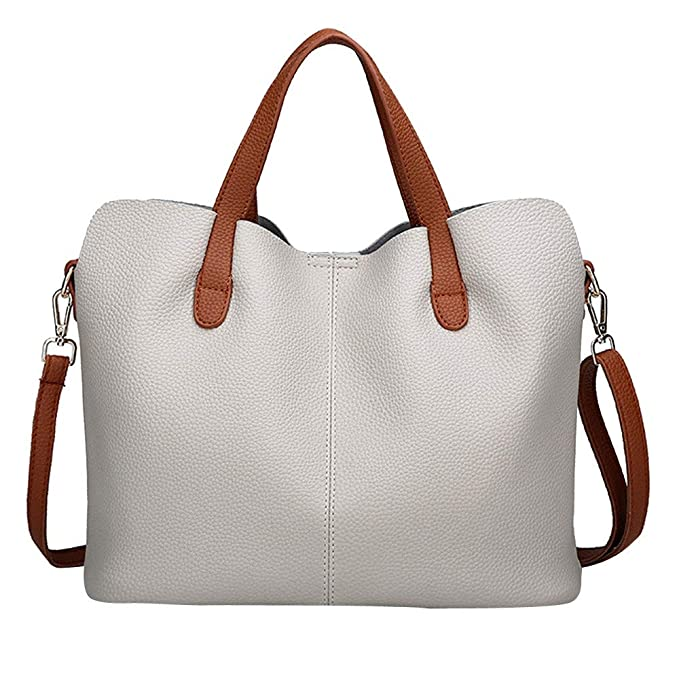 450c26aed3 Birdfly Stylish Women s Plain Leather Hand Bill of Lading Shoulder  Messenger Bag (Gray)