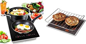 Dual 120V Electric Induction Cooker - 1800w Portable Digital Ceramic Countertop Double Burner Cooktop - NutriChef PKSTIND52 & Chef's Planet 401 Nonstick Toaster Oven Liner, 11-in, Black