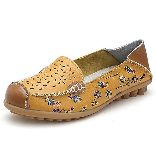 Z.SUO Mujer Mocasines de Cuero Moda Loafers Casual Zapatos de Conducción Zapatillas(39 EU,Rosa)