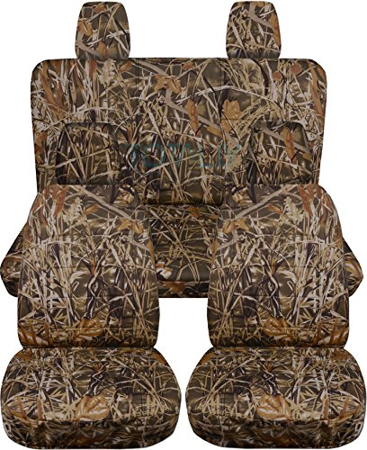 2011-2018 Jeep Wrangler JK Camo Seat Covers: Wetland Camouflage - Full Set: Front & Rear (19 Prints) 2012 2013 2014 2015 2016 2017 2-Door/4-Door Complete Back Solid/Split Bench