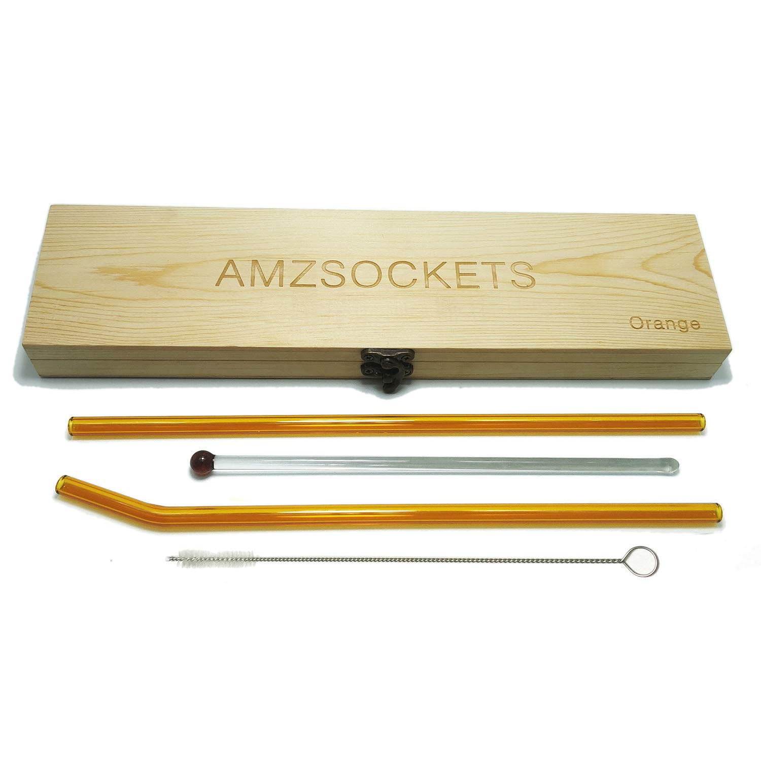 AMZSOCKETS Glass Straws Private Wood Box Multi Color 10inchs X 8mm Reusable Drinking Straw Case Set Perfect for Home, Office or Gift - Green, Orange, Purple, Blue (Orange)