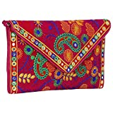 Made in India Evergreen Handmade Embroidered Banjara foldover Clutch Purse-Sling Bag-Cross Body Bag (Queen Color)