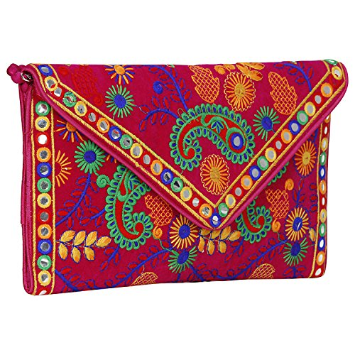 Made in India Evergreen Handmade Embroidered Banjara foldover Clutch Purse-Sling Bag-Cross Body Bag (Queen Color) by Suman Enterprises