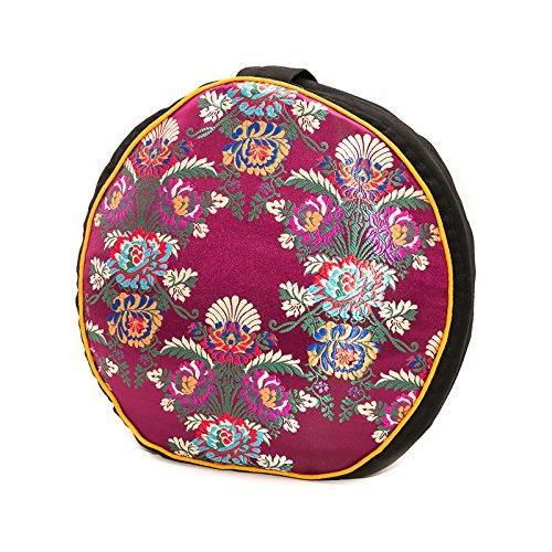 Kathmandu Yogi Zafu Meditation Yoga Buckwheat Filled Fair Trade Silk and Organic Cotton Pillow Cushion with Exclusive Premium Designs (Choose your Design & Color) (Kalika Maroon)